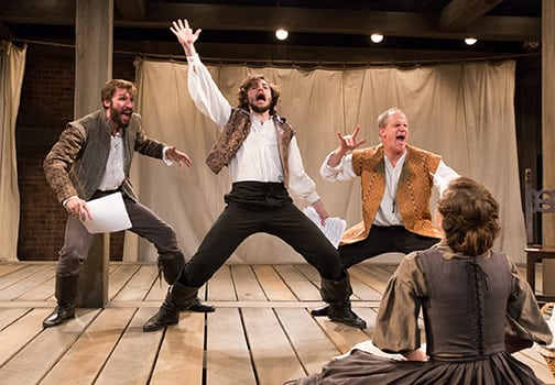 Dan Hodge, Sean Lally, and Anthony Lawton in Equivocation. Photo by Mark Garvin.